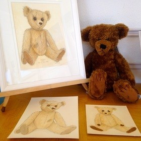 Store original watercolour teddy bear